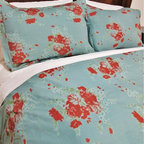 Cokas Diko - Cokas Diko Blue Terac Duvet Set, Queen - Tranquil blue hues meet efflorescence floral delight.  Our Blue Terac Duvet Set is a Cokas Diko exclusive that will sweep you off your feet.  Super soft incredibly comfortable, our queen duvet sets come with standard sized coordinating shams. Pattern reverses to self. Created with 300 thread count pre washed percale cotton. Machine washable.