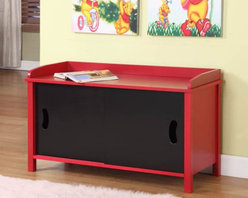 K and B Furniture Co Inc - InRoom Designs Storage Toy Chest Multicolor - R1118 - Shop for Childrens Toy Boxes and Storage from Hayneedle.com! Both you and I realize that the easy access of the InRoom Designs Storage Toy Chest's front sliding doors makes it very easy for kids to put away their things but you may have to show your kids how it works instead of just assuming that they'll start cleaning their rooms. This sturdy cabinet is crafted from rugged MDF with a veneer finish in bright red and jet black. A pair of sliding panels on the front provide access to a roomy interior that's big enough for toys books games or all three. The edged top is a great bench but also just as useful for storage. This chest is easy to clean and requires minor assembly.About InRoom Furniture DesignsThough a young company established in 2008 InRoom Furniture Designs provides world class design marketing engineering and quality control. As an innovator in both youth bedroom and other home furnishings they are committed to bring fresh designs and craftsmanship. At InRoom Furniture Designs they pride themselves on paying close attention to product detail and quality features like full extension ball bearing drawer glides beautifully accented English drawer dovetailing maximum drawer size and engineering safety.