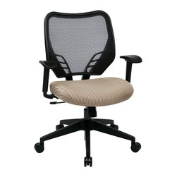 Office Star - Office Star Latte VeraFlex Seat and Dark AirGrid Back Managers Chair - Latte VeraFlex Seat and Dark AirGrid Back Managers Chair with Adjustable Arms and Angled Nylon Base, Pneumatic Seat Height adjustment, 360? swivel, 2 to 1 Synchro Tilt with tilt tension and lock What's included: Office Chair (1).