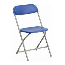 Flash Furniture - Flash Furniture Hercules Premium Plastic Folding Chair in Blue - Flash Furniture - Folding Chairs - BHD0001BLGG - Plastic folding chairs are the choice of many event planners for their lightweight design ease of cleaning and versatility among events. This portable folding chair can be used for Banquets Parties Graduations Sporting Events School Functions and in the Classroom. This chair will be the perfect addition in the home when in need of extra seating to accommodate guests. Constructed of lightweight textured polypropylene and a strong steel frame these folding chairs will suit most any occasion.