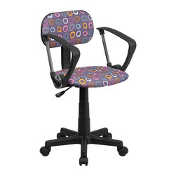 Flash Furniture - Flash Furniture Multi-Colored Pattern Printed Computer Chair with Arms - Flash Furniture - Office Chairs - BTFLAGG - This attractive design printed office chair will liven up your classroom dorm room home office or child's bedroom. If you're ready to step out of the ordinary then this computer chair is for you!