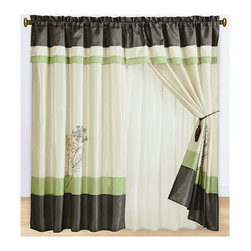 "Portland Sage Curtains 2 x Panels 60x84""ea. with Valance, 60x84+18 (2-Panels) - Curtain set Includes: 2 Panels 60""Wx84""L + 18"" Attached Valance"