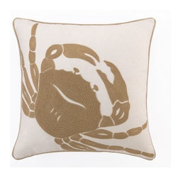 Peking Handicrafts - Beach Crab Embroidered Pillow - Beautifully done neutral pillows for the beach! Embroidered khaki-tan large crab on a 18 x 18 coastal 100% cotton canvas sealife pillow, with rope like edge trim. Down filled, and zippered enclosure.