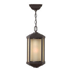 Hinkley Lighting - Hinkley Lighting HK-1392BZ-GU24 Castelle Outdoor - Castelle's transitional style features clean lines and a ribbed etched glass cylinder accented by etched amber corner panels, adding to its sophisticated look.