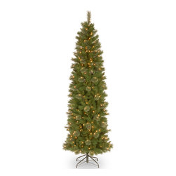 None - 7 1/2' Tacoma Pine Pencil Slim Tree with 350 Clear Lights - Light up your home this season with this slim 7.5 foot tall Tacoma pine pencil slim tree. The clear lights accessorize any decor in your home.