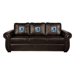 Dreamseat Inc. - Dallas Mavericks NBA Chesapeake Brown Leather Sofa - Check out this Awesome Sofa. It's the ultimate in traditional styled home leather furniture, and it's one of the coolest things we've ever seen. This is unbelievably comfortable - once you're in it, you won't want to get up. Features a zip-in-zip-out logo panel embroidered with 70,000 stitches. Converts from a solid color to custom-logo furniture in seconds - perfect for a shared or multi-purpose room. Root for several teams? Simply swap the panels out when the seasons change. This is a true statement piece that is perfect for your Man Cave, Game Room, basement or garage.