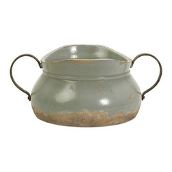 IMAX CORPORATION - Calista Short Bowl W/ Metal Handle - A pale aqua rustic full bodied ceramic bowl has a natural quality like a handmade collectible piece from ancient civilizations. This piece is highly versatile and well suited for a variety of decor. Find home furnishings, decor, and accessories from Posh Urban Furnishings. Beautiful, stylish furniture and decor that will brighten your home instantly. Shop modern, traditional, vintage, and world designs.