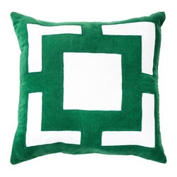 "Bandhini - Panel Emerald Lounge Throw Pillow - The Panel lounge throw pillow pairs luxe texture and modern glamour. Across white cotton, an emerald green velvet geometric pattern lends bold style. 21""W x 21""H; 80% cotton, 20% velvet; Dry clean; Grey goose down fill insert included"