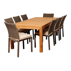Amazonia Teak - Sofia 9-piece Teak and Wicker Outdoor Dining Set - The Sofia nine-piece outdoor patio set offers transitional styling and a functional design that is sure to enliven any space. Enjoy your patio in comfort with this alluring dining set,which includes a teak wood construction and padded seat cushions.