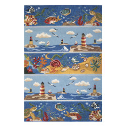 Momeni Rug - Momeni Rug Coastal 2' x 3' CC-07 Blue COASTCC-07BLU2030 - Seaside motifs and cool ocean colors make the Coastal Collection stand out. These hand-hooked rugs with playful coastal accents are a beach house must have. From palm trees to sea shells to lighthouses, the Coastal Collection will bring back memories of summers at the shore all year long.
