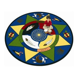 Joy Carpets Spirit of Truth Kids Area Rug - Kids will love the bright colors and fanciful look of this Spirit of Truth Carpet. What's more it will introduce Native American art and culture as well as their belief in truth harmony strength love peace and health.Sizes available7 feet 7 inches x 7 feet 7 inches (square)5 feet 4 inches diameter (round)13 feet 2 inches diameter (round)This carpet features SoftFlex backing which is an air-texturized polypropylene secondary backing that's designed to withstand the most demanding situations. SoftFlex is woven tightly yet is still extremely flexible which helps eliminate wrinkles and provide superior protection and insulation underfoot.JoyTuff carpets are Stainmaster-protected and ideal for home or office use. They are constructed from Stainmaster BCF Type 6 6 two-ply nylon and feature advanced protection against stain and soil as well as Impervion mold and mildew protection. This carpet is bound and serged for maximum durability and features a SoftFlex back plus a Class I Flammability rating. To maintain simply vacuum regularly and use hot water extraction cleaning as required.This carpet includes the following warranties:Lifetime limited wear warrantyLifetime limited antimicrobial protectionLifetime limited static protection10-year limited dual technology soil and stain protectionDedicated to Environmental StewardshipJoy Carpets understands the importance of environmental stewardship and its relationship to a successful business. We are committed to operating our facilities in an environmentally sustainable manner and in a manner that protects the health and safety of our associates and the public.Our environmental commitment is driven by a holistic approach to sustainable operations not simply focusing on recycling alone. Joy Carpets reaches beyond recycling in an effort to reduce our company's environmental footprint. Our vision and progress to achieving the goal of full sustainability focuses on the following:Environmentally friendly productsReview of our products' supply chainExtending product life cycleUse of recycled packagingReducing waste to landfillReducing energy consumption and water usageUse of alternative energy sources'No carpet to landfill' commitmentRecycling carpet into new productsDonating carpet for charitable re-useAdditionally Joy Carpets is committed to establishing a strong foundation of environmental values with our families associates and communities to ensure the long-term conservation of our earth's natural resources.About Joy CarpetsJoy Carpets is the leader in specialty broadloom modular carpet Carpets and mats in creative and eye-catching designs. Joy takes pride in providing first-rate floor coverings for residential educational hospitality healthcare and commercial markets. The pioneer of fine gauge tufting Joy Carpets introduced the first recreational carpeting to the industry in 1973 and since that time has been known for their commitment to cutting edge technology and design. Joy Carpets are proudly made in the United States and sold worldwide. Choose Joy Carpets for superior service and unique fun products that enhance your decor and give you fantastic flooring in an instant.