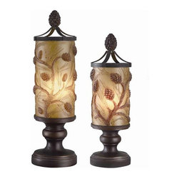 """Autumn's Light Accent Lamp Set - Autumn's Lightly, Accent Lamp Set in Amber Bronze Finish, 21.5"""" height x 6.5"""" dia base and 18"""" height x 5.5"""" Dia base 25w type-B bulb 21.5 and 18"""" height."""