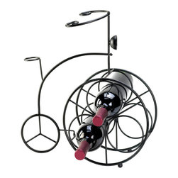 KOOLEKOO - Bicycle Wine Rack - This iron bicycle is a charming way to display three of your favorite bottles of wine. Place the bottles in the front wheel and decorate your counter, tabletop or bar with great taste!