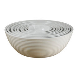 Montes Doggett - Hand-Thrown Nesting Bowls, Set of 9 - A set of nesting bowls is a kitchen essential. You will find yourself using them for mixing batters, serving salads and marinating meats. These have a beautiful earthy quality that comes with handmade ceramics. What a treasure.