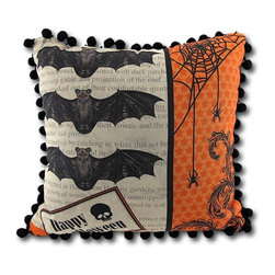 Raven/Bats Halloween Pillow with Ball Fringe - Add a festive accent to your home this Halloween with this reversible throw pillow. One side wishes passersby a happy Halloween with images of bats and spiders. The other side asks `Trick or Treat?` with a raven awaiting your reply. The pillow measures 12 inches by 12 inches, has fun pom pom trim around the edges, and is made of cotton and filled with polyester stuffing. Recommended care instructions are to spot clean or dry clean, only. Made in the U.S.A.