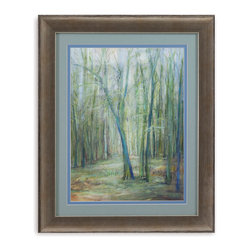 Bassett Mirror - Bassett Mirror Framed Under Glass Art, Crossroad II - Two roads diverged in a very teal wood, or at least that's what this piece, part II of II in the Crossroad series, depicts. This artistic interpretation of a forest view uses deep blues and greens contrasting with bright whites to play with light and shadows. Surrounded with a soft blue and gray-blue matte, and then placed beneath glass in a contemporary 3-inch frame, this piece can be displayed on its own or hung with its sister-piece, Crossroad I.