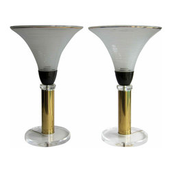 Streamline Lamps - Frosted Glass shade with gold detail, patina brass and Lucite base.