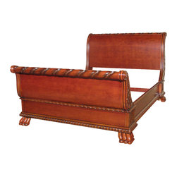 MBW Furniture - Solid Wood Cherry Carved French Style Queen Sleigh Bed - This product is finely constructed from top grade kiln-dried solid wood and select hardwood veneers. Its superb quality will add a touch of elegance to your home.