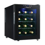 Danby - 12 Bottle wine cooler - 12 bottle capacity countertop wine cellar Sleek midnight black finish with clear glass door Features energy efficient semi-conductor cooling technology Eco-friendly design does not use refrigerants Silent operation and no vibration to disturb the wine 3 contoured chrome storage shelves cradle wine bottles Intuitive push button thermostat can be set anywhere from 10� C ~ 18�C (50�F ~ 64.4�F) Blue LED interior light can be turned on or off as desired, unit dimensions (w x d x h) 13 6/16 x 20 1/16 x 18 7/16