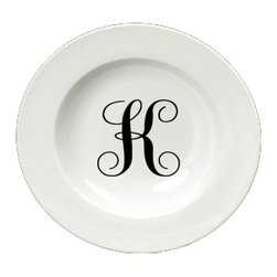 Caroline's Treasures - Letter K Initial Monogram Script Round Ceramic White Soup Bowl CJ1057-K-SBW-825 - Letter K Initial Monogram Script Round Ceramic White Soup Bowl CJ1057-K-SBW-825 Heavy Round Ceramic Soup Bisque Gumbo Bowl 8 3/4 inches. LEAD FREE, microwave and dishwasher safe. The bowl has been refired over 1600 degrees and the artwork will not fade or crack. The Artwork for this gift product and merchandise was created by Sylvia Corban copyright and all rights reserved.