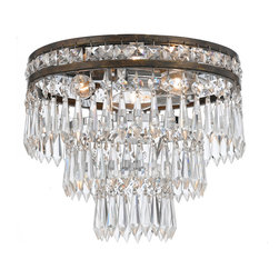 Crystorama - Crystorama 5260-EB-CL-MWP Mercer 3 Light Flush Mounts in English Bronze - Our Mercer collection has all the angles covered. It is stunning no matter how you look at it. The metal work is as beautiful as the waterfall of crystal beads and faceted jewels that adorn it. From below, the metal forms a floral design, like something you might see in a stained glass window.