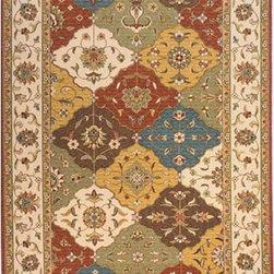 Momeni - Persian Garden Multi-Colored Rectangular: 5 Ft. x 8 Ft. Rug - Persian-inspired patterns in 100% New Zealand wool with hand-serged finishing. Momeni - PERGAPG-11MTI5080