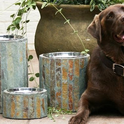 Set of Two Apsen Raised Dog Feeders - Not only is the natural slate surround on these bowls great looking, this dog is adorable. I like the rustic  but elegant design. Plus, raised bowls are great for your older buddies' necks.