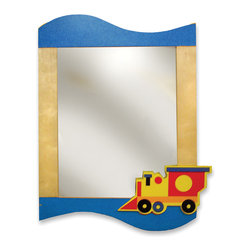 "Room Magic - Boys Like Trucks Wall Mirror - A single choo-choo chugs on this beautiful mirror, made of birch veneers finished in brightly colored stains. 24""L, 33""H"