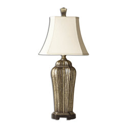 Uttermost - Sanchiel Tall Silver Lamp - This Alluring Lamp Has A Broken Warm Antiqued Silver Leaf Finish Over A Black Undercoat With Cast Aluminum Accents. The Ivory Woven Shade Is A Rectangle Bell With Clipped Corners. Number Of Lights: 1, Shade: Rectangle Bell With Clipped Corners Shade, Shade Size: Height: 11, Top: 8w X 6d, Bottom: 14w X 11d, Voltage: 110, Wattage: 100w, Bulbs Included: No