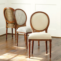 Ballard Designs - Bring Home Ballard Oval Louis XVI Side Chair - Our elegant Louis Chairs offer enduring style that never succumbs to fickle trends. Inspired by Greek and Roman classicism the lines never tire and feel just as relevant today as they did 200 years ago. Classic in every detail, each frame is hand crafted in Italy of solid beechwood with tapering fluted legs crowned in carved florettes. Upholstered in the USA.