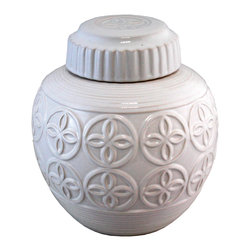 Selectives - 9.5-Inch Tall Jamie Ceramic Canister - Add this charmingly decorative and functional white ceramic canister for a refined decorative appeal to your kitchen counter top, living room or family room. Glazed in white for a fresh, versatile look.