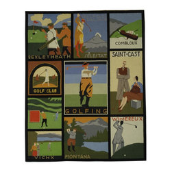 "Safavieh - Vintage Posters Rug, Assorted, 5'-6"" x 5'-6"" Round - These vintage posters and advertisements were once seen throughout Europe and are now prized by collectors. Safavieh h'sfaithfully reproduced their vibrancy in hand-hooked, pure wool rugs with durable cotton backing."
