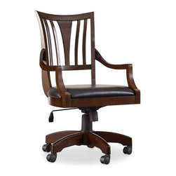 """Hooker Furniture - Hooker Furniture Latitude Tilt Swivel Chair - The luxurious Latitude collection is crafted using hardwood solids and walnut veneers. Tilt swivel. Pneumatic gas lift. Casters. Bonded leather. Hardwood Solids and Walnut Veneers. Dimensions: 22""""W x 23""""D x 40""""H."""