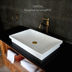 WHITE MARBLE VESSEL SINK CRYSTAL BATHROOM BASIN 24-INCH & DROP-IN - Reference: BB510ECRW-US