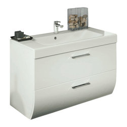 Iotti - 30 Inch Vanity Cabinet With Ceramic Sink - This contemporary wall mounted bathroom vanity set comes a vanity cabinet made of engineered wood in a glossy white finish. Vanity structure features 2 soft-closing drawers for storage. Vanity set also includes self-rimming white ceramic sink. Made and designed in Italy. Faucet is not included.