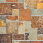"""Relastone Systems - Realstone Systems Terracotta Kasa Mat - Kasa Stone mats feature larger squares than their Halona stone mat counterparts. These mats feature a square or rectangular """"ashlar"""" pattern of selected slate or quartz that is adhered to a rubber mesh mat."""