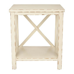Safavieh - Safavieh Mia End Table X-A5356HMA - Add shabby chic charm with the Mia end table's X detailing, a favorite motif used by designers as mullions in closets, cabinets and doors. Crafted of pine with distressed cream finish, this versatile clean-lined table complements country, coastal and traditional interiors. Minor assembly required.