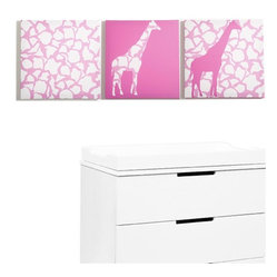 Rose Giraffe Walk Canvas Print, Set of 3
