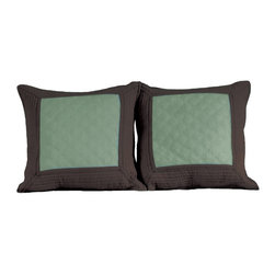 None - Brentwood Quilted Seafoam Blue/ Espresso Decorative Pillows (Set of 2) - This Brentwood quilted throw pillow set embodies elegant simplicity in fashionable colors. The solid color center panel is quilted in a double diamond pattern and bordered by mitered and channel quilted panels in complimentary colors.