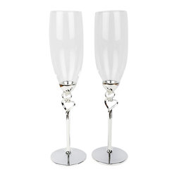 "Unik Occasions - Double Hearts Toasting Flutes/Champagne Glasses - Say ""cheers!"" in a special way with this gorgeous pair of toasting glasses! The stem of these glasses display two delicate silver hearts. With a whimsical appearance, these champagne flutes make a very sleek wedding decor."
