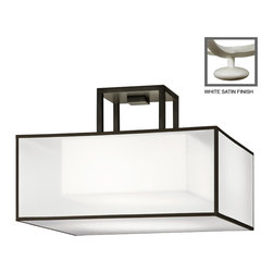 Fine Art Lamps - Black + White Story Semi-Flush Mount, 330740-5ST - If you've got a somewhat lower ceiling, this sleek, semi-flush fixture is ideal for bringing beautiful direct light to your space. The simple shade of white crepe with a shimmering organza screen will blend seamlessly with your decor.