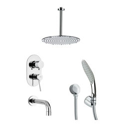 Remer - Chrome Round Tub and Shower Faucet with Handheld Shower - Single function tub and shower faucet.