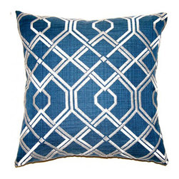 shopMACK - Lake Placid Pillow, 20x20 - Nothing beats the graphic punch of a trellis pattern. We love how the modified trellis pattern on our Lake Placid Pillow is a fresh and modern spin on the classic. These oversize pillows are the perfect solution to any lackluster space. The Lake Placid has a zipper closure and comes complete with a feather/down insert. Made to order in the USA, please allow three weeks.