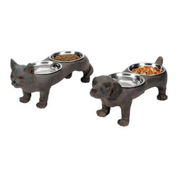 Sterling Industries - Sterling Industries Perfect Pet Bowls Set of 2 X-8012-78 - This Sterling Industries set of pet bowls is designed with whimsy. Each feeder features two steel bowls, which are inlaid into the backs of the cat or dog. They feature true-to-life detailing and an aged finish that adds to their appeal.