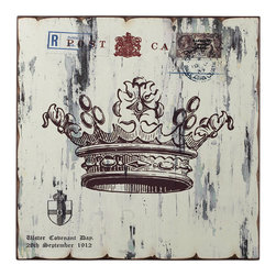 Sterling Industries - White Crown Print Wall Decor in Washed White - White Crown Print Wall Decor Decorative Accessory in Washed White by Sterling Industries
