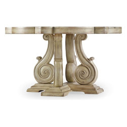 """Hooker Furniture - Hooker Furniture Sanctuary Pedestal Dining Table in Dune - Pursue serenity at home. Create your own personal sanctuary, a special place where you can experience comfort within. Hardwood Solids and Oak Veneers with Resin. Dimensions: 52.375""""W x 54""""D x 30""""H."""