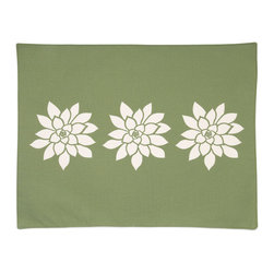 Wabisabi Green - Bloom Eco Placemats, Olive/Cream, Set of 4 - A pretty table makes any meal special — yes, even takeout. So why not set yours with these fresh flower placemats? Sustainability bonus: They're made of a recycled poly-organic cotton blend and eco-safe inks.