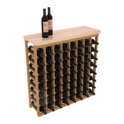 "Wine Racks America - Tasting Table Wine Rack Kit with Butcher Block Top in Pine, Oak Stain - The quintessential wine cellar bar; this wooden wine rack is a perfect way to create discrete wine storage in shallow areas. Customize with LEDs and add a 35"" top of your choice. Granite, marble or our culinary grade Butcher's Block tops are popular methods to create intimate tasting tables. We build this rack to our industry leading standards and your satisfaction is guaranteed."