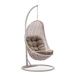Zuo Modern - Cradle Chair in Pearl - Warranty: One year limited. Made from steel. Pearl color. Assembly required. 42.9 in. L x 32.7 in. W x 75.2 in. H (69.5 lbs.)