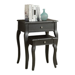 Monarch Specialties - Monarch Specialties 3875 2-Piece Nesting Table Set in Antique Black - An elegantly designed 2 piece set with a distressed antique-look black nesting tables featuring drawer storage and soft curved legs. A beautiful addition to any room in your home.